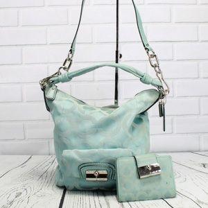 Coach Signature Teal Blue Hobo Handbag Plus Wallet